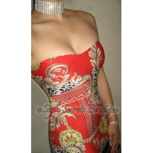 6532d14395 GORGEOUS LEOPARD FLORAL BAROQUE PADDED CORSET VENETIAN CHAIN DRESS ...